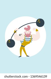 Circus strongman sailor with a rod. Vector vintage poster in the nursery. Cartoon illustration in the Scandinavian style in pastel colors.
