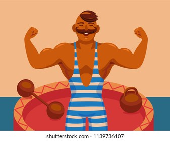 circus strongman.  strong athlete with a mustache shows his muscle. circus dumbbell and barbell. cartoon vector illustration.