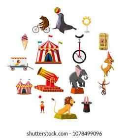 Circus symbols icons set. Cartoon illustration of 16 circus symbols vector icons for web
