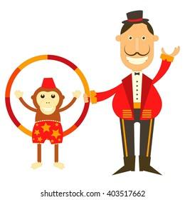 Circus Tamer Ringmaster and Monkey on White Background. Vector Illustration.