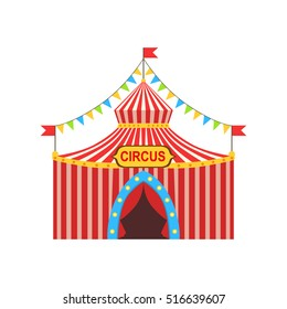 Circus Temporary Tent In Stripy Red Cloth With Flags, Garlands And Entrance Sign