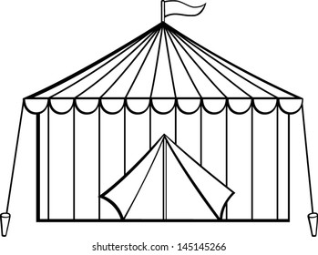 Camping Tent And Nature Tree In Black And White Stock Vector - Illustration  of quiet, cultural: 152881333