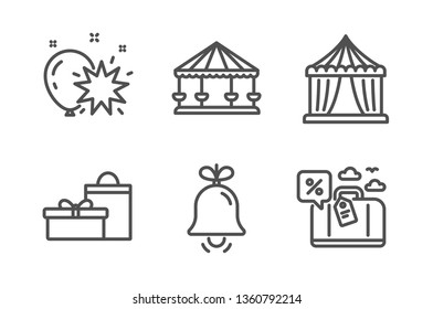 Circus tent, Balloon dart and Bell icons simple set. Carousels, Gifts and Travel loan signs. Attraction park, Alarm signal. Holidays set. Line circus tent icon. Editable stroke. Vector