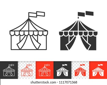 Circus Tent black linear and silhouette icons. Thin line sign of marquee. Cirque Canopy outline pictogram isolated on white, color, transparent background. Vector Circus icon simple symbol closeup