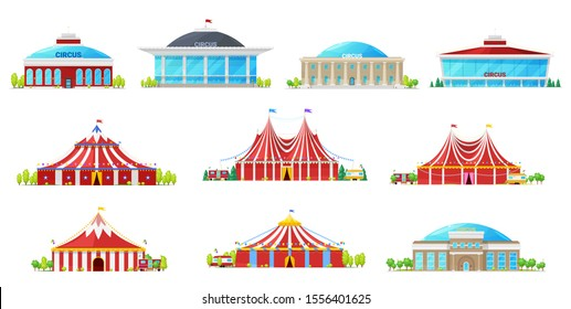 Circus tent, building and carnival marquee icons. Vector and big tops with flags, red white strips and balloons. Chapiteau, amusement park and funfair, entertainment architecture