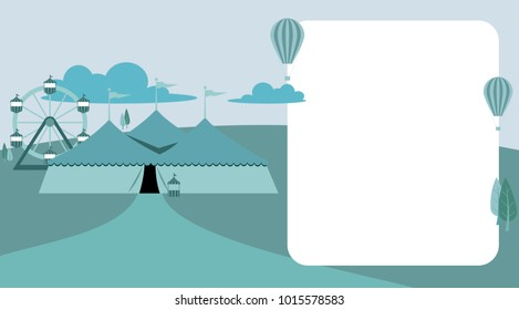 Circus tent carnival vector sign