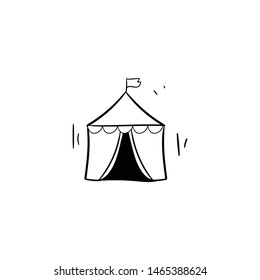 circus tent doodle icon vector