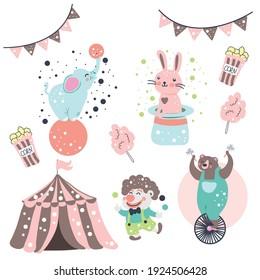 Circus tent elephant and rabbit