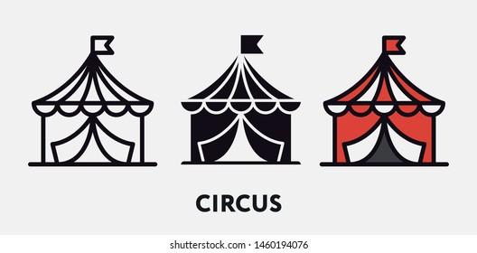 Circus Tent Fare. Vector Icon Set.