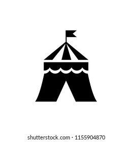 Circus Tent. Flat Vector Icon illustration. Simple black symbol on white background. Circus Tent sign design template for web and mobile UI element