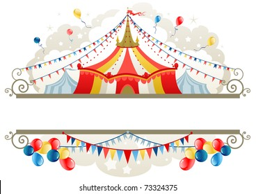 Circus tent frame with space for text