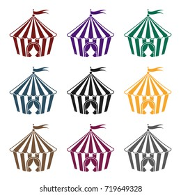 Circus tent icon in black style isolated on white background. Circus symbol vector illustration.