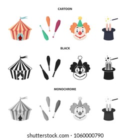 Circus tent, juggler maces, clown, magician hat.Circus set collection icons in cartoon,black,monochrome style vector symbol stock illustration web.