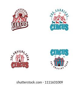Circus tent logo template. Vector illustration.