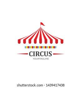 Circus tent logo template Vector illustration.