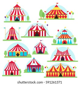 Circus tent marquee with stripes and flags isolated. Ideal for carnival signs