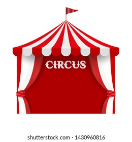 Circus Tent Poster Background Template. Red and White Stripes, Striped Dome, Canopy. Vector Illustration Isolated on White Background.