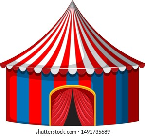 Circus tent in red and blue illustration