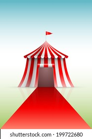 Circus tent and red carpet. Vector illustration.