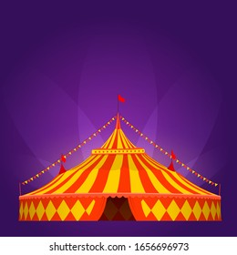 Circus tent in red and yellow colors with searchlight on purple background. Vector illustration