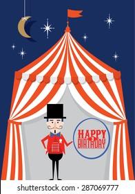 circus tent ringmaster birthday card template vector/illustration