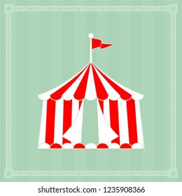 Circus tent sign with copy space on striped background with star border