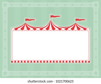Circus tent sign on green striped background with copy space