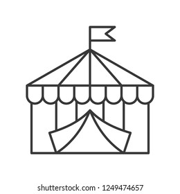 Circus tent vector icon, amusement park related line design