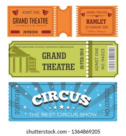 Circus and theater ticket admission or pass entertainment industry vector paper cards to watch play or show and performance pillars and theatrical masks silhouettes stars and spotlight barcode.