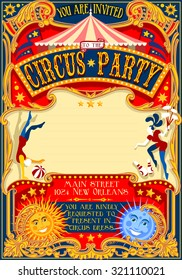 Circus theatre fairground Retro Template Poster Invite. Kid game Birthday Party. Carnival festival Background cirque amusement family park Cabaret Vintage vector big top marquee juggler clown theme