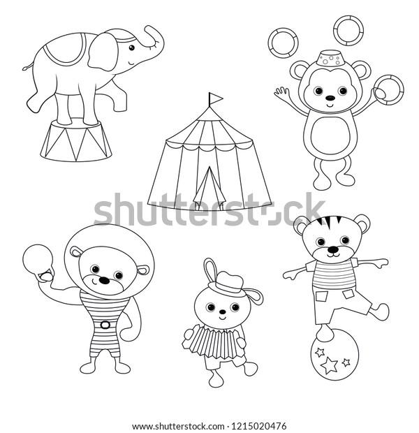 - Circus Theme Coloring Book Set Circus Stock Vector (Royalty Free) 1215020476