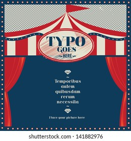 Circus theme wedding invitation card/ Greeting card/ Layout/ Vintage circus tent template vector/ illustration