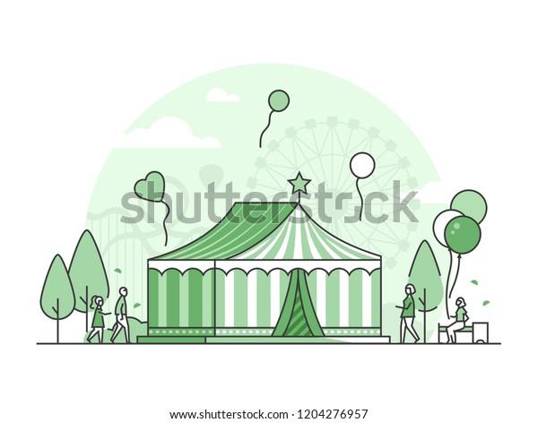 Circus - thin line design style vector illustration