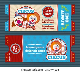 Circus ticket template. Invitation coupon with clown, card pass. Vector illustration