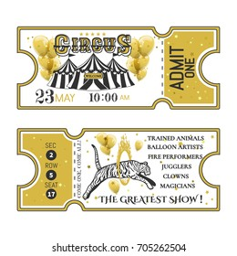 Circus ticket.Back and front side.Vector illustration.