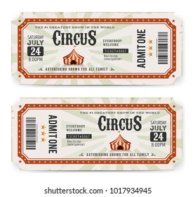 Circus Tickets Front And Back Side/ Illustration of two circus tickets, with big top, admit one coupon mention, bar code and text elements for arts festival events