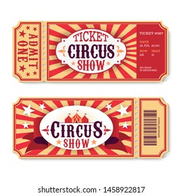 Circus tickets. Magic show entrance vintage paper ticket, festival entertaining event coupons. Birthday party card vector template, top of luxurious holiday poster
