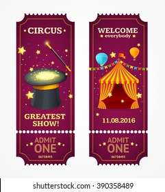 Circus Tickets Set. Magic Show. Vector illustration