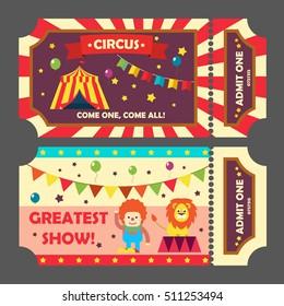 Circus tickets set, vector illustration. Magic show entrance ticket template for circus entrance