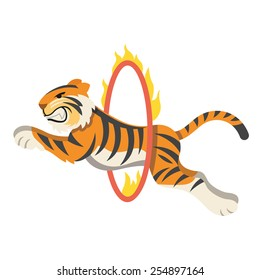Circus tiger jumping through flaming hoop. Vector illustration. Isolated on white background.
