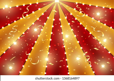 Circus top background of red and gold lines stripe with star constellations, light bulbs and tinsel. Retro sun beam ray template for banner, invitation flyer. Vintage fun fair burst carnival poster