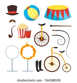 Circus Trainer Items Set Vector. Circus Accessories. Hat, Mustache, Ball, Podium, Stand, Whip, Tobacco, Popcorn, Soda, Bicycle, Fire Ring, Boots. Isolated Flat Cartoon Illustration
