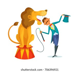 Circus trainer performs a trick along with a lion.