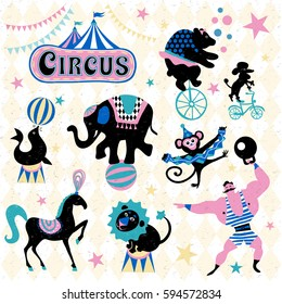 Circus traveling retro cartoon icons collection. Circus logo tent, trained wild animals performance isolated vector illustration