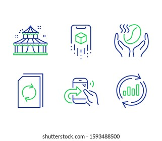 Circus, Update document and Share call line icons set. Coffee, Augmented reality and Update data signs. Attraction park, Refresh file, Phone support. Roasted bean. Business set. Vector