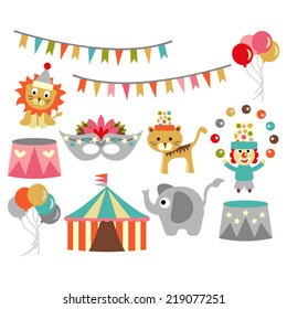 Circus vector. Banners, tent, mask, balloons, elephant, clown, lion, and tiger.