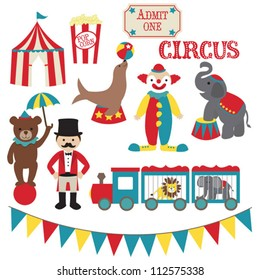 Circus vector clip art set