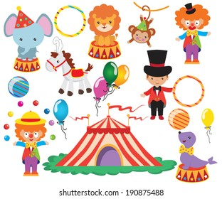 Circus vector colorful illustration