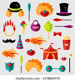 Circus. Vector illustration set with circus celebratory objects. Flat style design elements on background for kids birthday, circus party, patch, sticker, party props, cake toppers, photo booth.