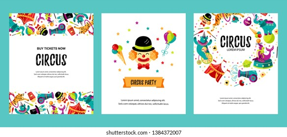 Circus. Vector illustration set with clown, animals, circus tent and magicians. Template for circus show, party invitation, poster, kids birthday, flyer. Flat style.